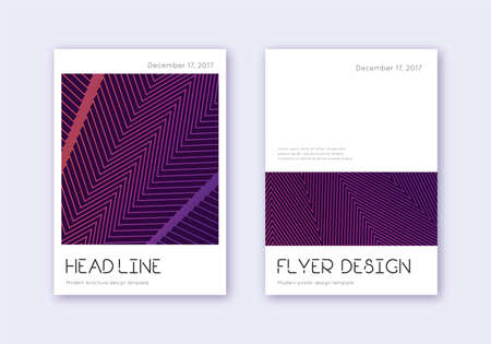 Minimal cover design template set. Violet abstract lines on dark background. Dramatic cover design. Indelible catalog, poster, book template etc.