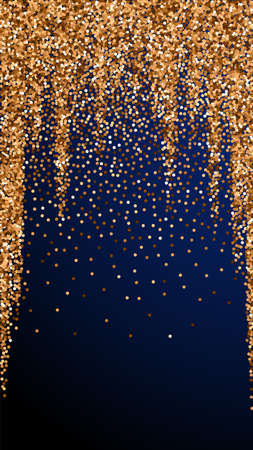 Red round gold glitter luxury sparkling confetti. Scattered small gold particles on dark blue background. Eminent festive overlay template. Splendid vector background.