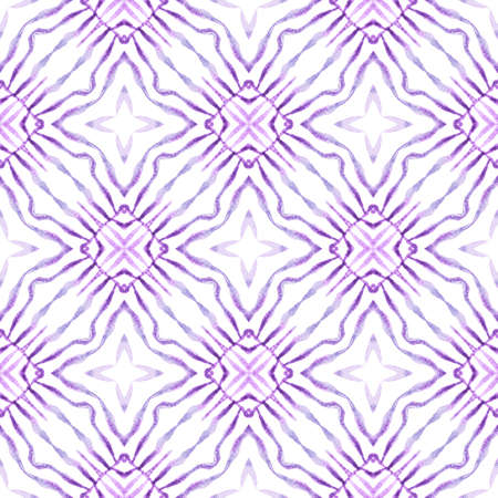 Medallion seamless pattern. Purple sublime boho chic summer design. Watercolor medallion seamless border. Textile ready grand print, swimwear fabric, wallpaper, wrapping.