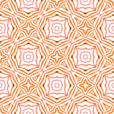 Tropical seamless pattern.  Orange sightly boho chic summer design. Hand drawn tropical seamless border.  Textile ready precious print, swimwear fabric, wallpaper, wrapping. 免版税图像
