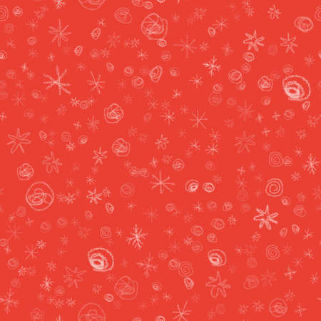Hand Drawn white Snowflakes Christmas Seamless Pattern. Subtle Flying Snow Flakes on red Background. Tempting chalk handdrawn snow overlay. Remarkable vector illustration.
