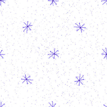 Hand Drawn blue Snowflakes Christmas Seamless Pattern. Subtle Flying Snow Flakes on white Background. Creative chalk handdrawn snow overlay. Glamorous holiday season decoration.