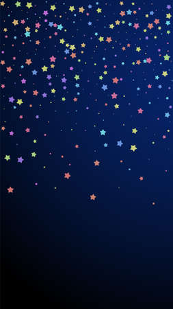 Festive sightly confetti. Celebration stars. Colorful stars random on dark blue background. Grand festive overlay template. Vertical vector background.