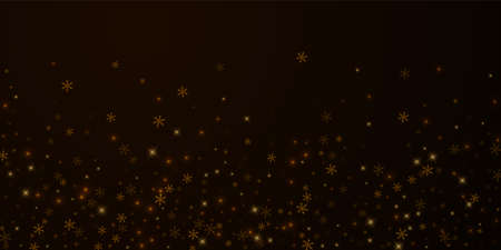 Sparse starry snow Christmas overlay. Christmas lights, bokeh, snow flakes, stars on night background. Luxury actual sparkling overlay template. Lively vector illustration.