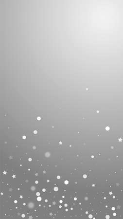 Magic stars random Christmas background. Subtle flying snow flakes and stars on grey background. Appealing winter silver snowflake overlay template. Mind-blowing vertical illustration.