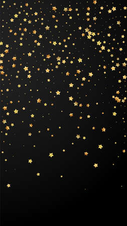 Gold stars random luxury sparkling confetti. Scattered small gold particles on black background. Enchanting festive overlay template. Admirable vector background.