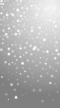 White dots Christmas background. Subtle flying snow flakes and stars on grey background. Appealing winter silver snowflake overlay template. Wonderful vertical illustration.