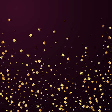 Gold stars random luxury sparkling confetti. Scattered small gold particles on red maroon background. Adorable festive overlay template. Memorable vector illustration.