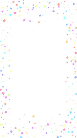 Festive comely confetti. Celebration stars. Colorful stars random on white background. Graceful festive overlay template. Vertical vector background.