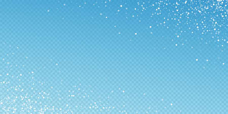 Random white dots Christmas background. Subtle flying snow flakes and stars on blue transparent background. Appealing winter silver snowflake overlay template. Overwhelming vector illustration. 矢量图像