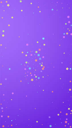 Festive gorgeous confetti. Celebration stars. Colorful stars random on violet background. Flawless festive overlay template. Vertical vector background. Иллюстрация