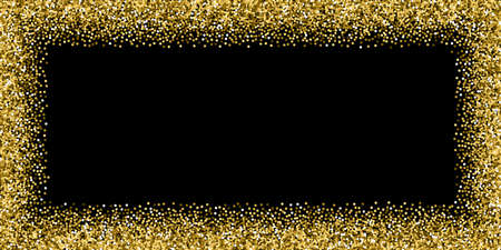 Round gold glitter luxury sparkling confetti. Scattered small gold particles on black background. Bold festive overlay template. Eminent vector illustration.