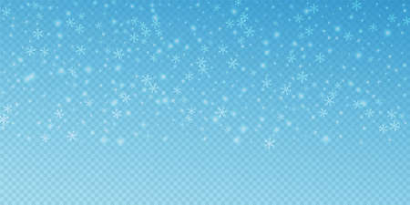Sparse glowing snow Christmas background. Subtle flying snow flakes and stars on transparent blue background. Adorable winter silver snowflake overlay template. Captivating vector illustration. Çizim