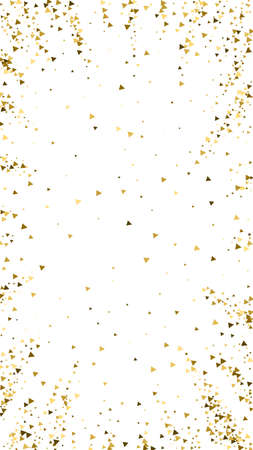 Gold triangles luxury sparkling confetti. Scattered small gold particles on white background. Divine festive overlay template. Noteworthy vector background.