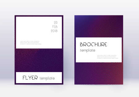 Stylish cover design template set. Violet abstract lines on dark background. Fine cover design. Unequaled catalog, poster, book template etc.