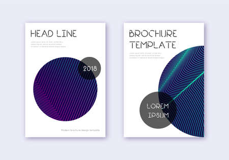 Trendy cover design template set. Neon abstract lines on dark blue background. Fresh cover design. Original catalog, poster, book template etc.  イラスト・ベクター素材