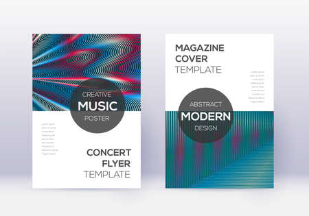 Modern cover design template set. Red abstract lines on white blue background. Exquisite cover design. Excellent catalog, poster, book template etc.  イラスト・ベクター素材