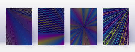 Art business card. Abstract lines modern brochure template. Rainbow vibrant gradients geometry on dark blue background. Beautiful cover, brochure, poster, book etc.  イラスト・ベクター素材