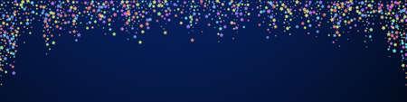 Festive creative confetti. Celebration stars. Colorful stars on dark blue background. Alive festive overlay template. Panoramic vector background.