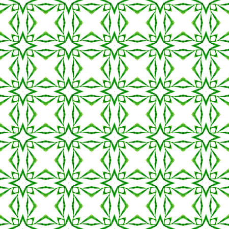 Textile ready shapely print, swimwear fabric, wallpaper, wrapping.  Green optimal boho chic summer design. Tropical seamless pattern.  Hand drawn tropical seamless border. 写真素材