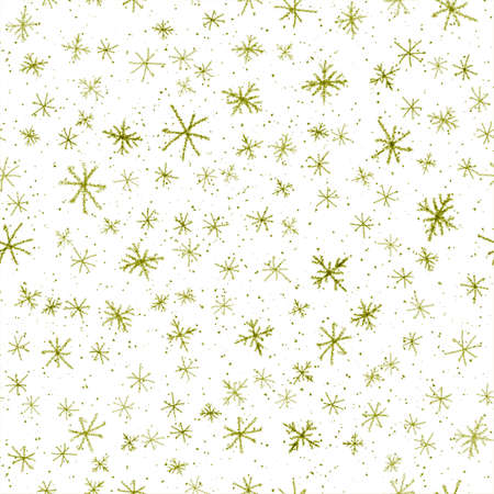Hand Drawn green Snowflakes Christmas Seamless Pattern. Subtle Flying Snow Flakes on white Background. Dazzling chalk handdrawn snow overlay. Terrific holiday season decoration.