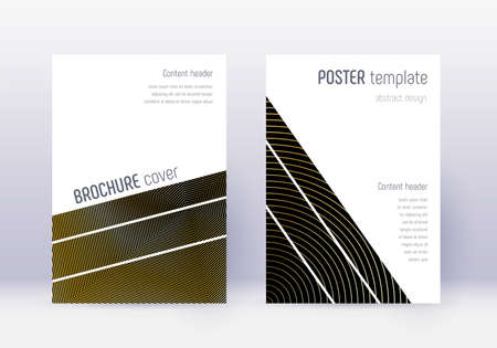 Geometric cover design template set. Gold abstract lines on black background. Bold cover design. Nice catalog, poster, book template etc.
