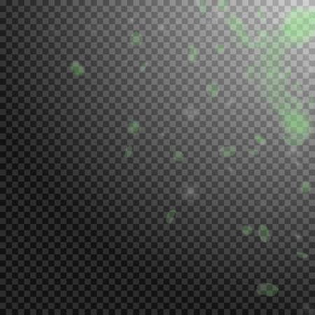 Green flower petals falling down. Terrific romantic flowers corner. Flying petal on transparent square background. Love, romance concept. Amazing wedding invitation.  イラスト・ベクター素材