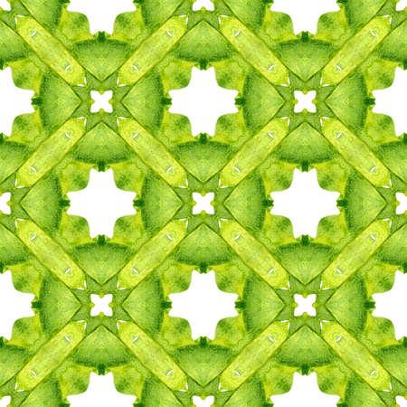 Mosaic seamless pattern. Green classy boho chic summer design. Hand drawn green mosaic seamless border. Textile ready neat print, swimwear fabric, wallpaper, wrapping.
