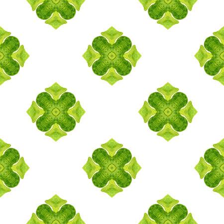 Textile ready fabulous print, swimwear fabric, wallpaper, wrapping.  Green creative boho chic summer design. Watercolor ikat repeating tile border. Ikat repeating  swimwear design.