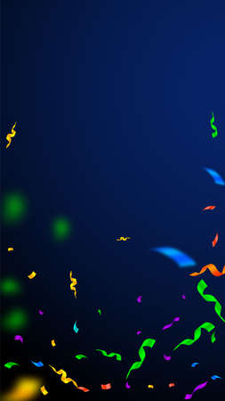 Streamers and confetti. Colorful streamers tinsel and foil ribbons. Confetti falling rain on dark blue background. Beautiful party overlay template. Valuable celebration concept.  イラスト・ベクター素材