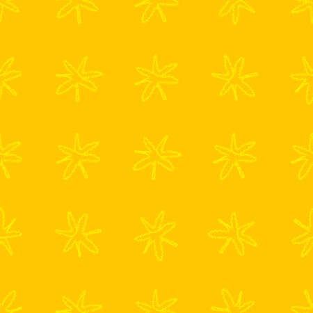 Hand Drawn gold Snowflakes Christmas Seamless Pattern. Subtle Flying Snow Flakes on yellow Background. Dazzling chalk handdrawn snow overlay. Quaint holiday season decoration.