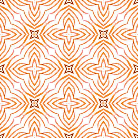 Trendy organic green border. Orange fabulous boho chic summer design. Textile ready authentic print, swimwear fabric, wallpaper, wrapping.  Organic tile.