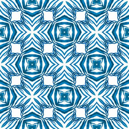 Mosaic seamless pattern. Blue fresh boho chic summer design. Textile ready captivating print, swimwear fabric, wallpaper, wrapping.  Hand drawn green mosaic seamless border. 写真素材