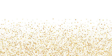 Gold stars luxury sparkling confetti. Scattered small gold particles on white background. Brilliant festive overlay template. Comely vector illustration.