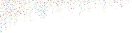 Festive eminent confetti. Celebration stars. Colorful stars small on white background. Admirable festive overlay template. Panoramic vector background.  イラスト・ベクター素材