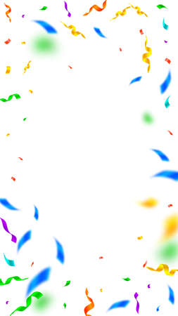 Streamers and confetti. Colorful streamers tinsel and foil ribbons. Confetti vignette on white background. Beauteous party overlay template. Precious celebration concept.
