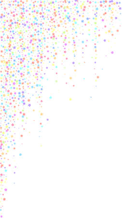 Festive flawless confetti. Celebration stars. Colorful stars on white background. Fresh festive overlay template. Vertical vector background.  イラスト・ベクター素材