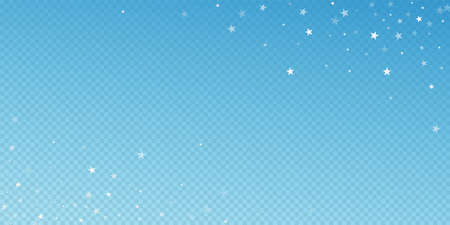 Random falling stars Christmas background. Subtle flying snow flakes and stars on blue transparent background. Appealing winter silver snowflake overlay template. Noteworthy vector illustration.