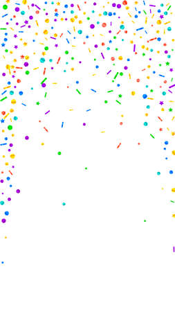 Festive interesting confetti. Celebration stars. Festive confetti on white background. Glamorous festive overlay template. Vertical vector background.