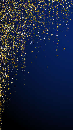 Gold triangles luxury sparkling confetti. Scattered small gold particles on dark blue background. Elegant festive overlay template. Valuable vector background. Standard-Bild - 161769945