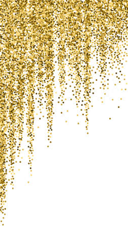 Round gold glitter luxury sparkling confetti. Scattered small gold particles on white background. Emotional festive overlay template. Nice vector background.