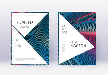 Stylish cover design template set. Red abstract lines on white blue background. Fascinating cover design. Alive catalog, poster, book template etc.