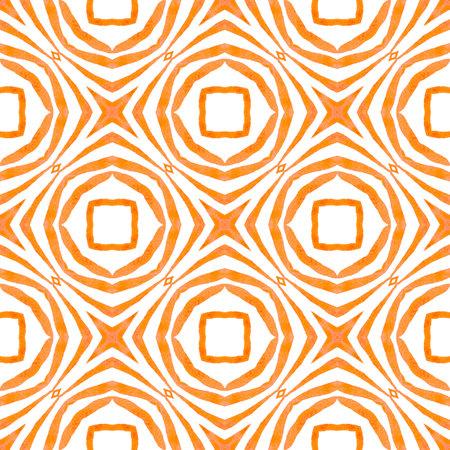 Repeating striped hand drawn border. Orange positive boho chic summer design. Textile ready posh print, swimwear fabric, wallpaper, wrapping. Striped hand drawn design.