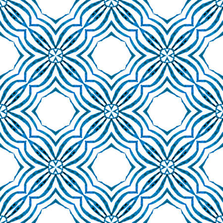 Tiled watercolor background. Blue overwhelming boho chic summer design. Textile ready enchanting print, swimwear fabric, wallpaper, wrapping. Hand painted tiled watercolor border.