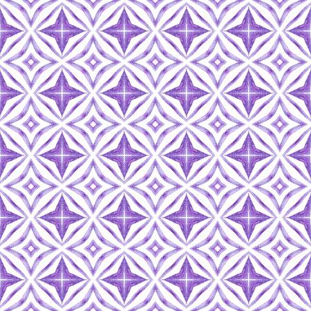 Green geometric watercolor border. Purple classic boho chic summer design. Textile ready positive print, swimwear fabric, wallpaper, wrapping. 写真素材