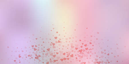 Red heart love confettis. Valentines day explosion worthy background. Falling transparent hearts confetti on soft background. Divine vector illustration.