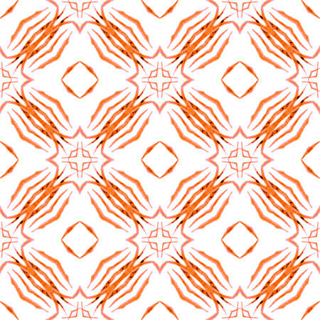 Textile ready ravishing print, swimwear fabric, wallpaper, wrapping. Orange favorable boho chic summer design. Mosaic seamless pattern. Hand drawn green mosaic seamless border.