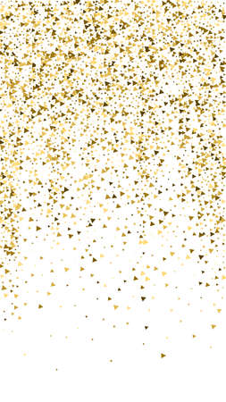 Gold triangles luxury sparkling confetti. Scattered small gold particles on white background. Enchanting festive overlay template. Amusing vector background.