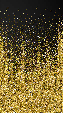 Round gold glitter luxury sparkling confetti. Scattered small gold particles on black background. Enchanting festive overlay template. Noteworthy vector background.
