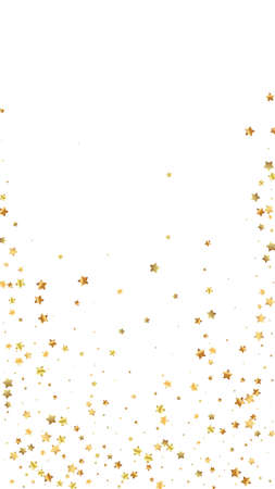 Gold stars random luxury sparkling confetti. Scattered small gold particles on white background. Emotional festive overlay template. Actual vector background. Ilustração Vetorial